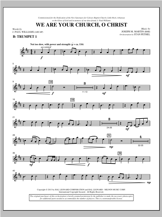We Are Your Church, O Christ - Bb Trumpet 1 Sheet Music