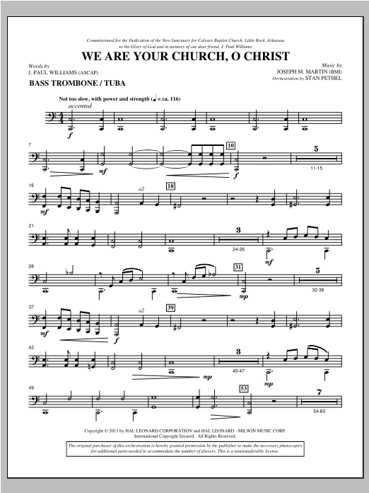 We Are Your Church, O Christ - Bass Trombone/Tuba Partition Digitale