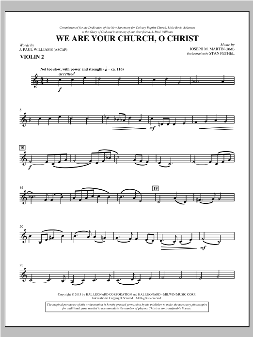 We Are Your Church, O Christ - Violin 2 Sheet Music