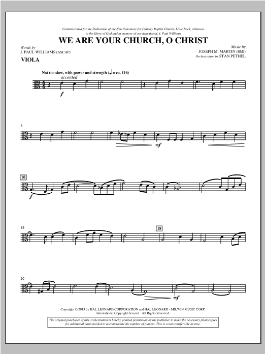 We Are Your Church, O Christ - Viola Sheet Music