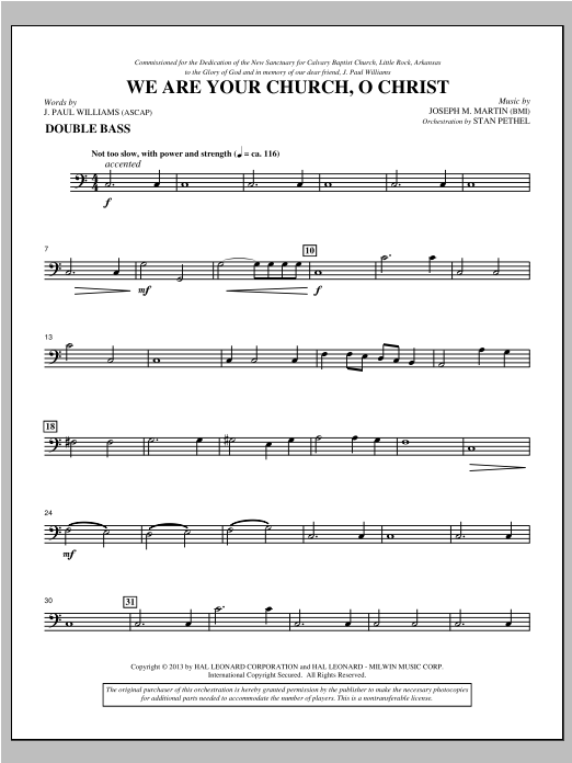 We Are Your Church, O Christ - Double Bass Sheet Music