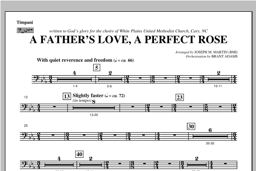 A Father's Love, A Perfect Rose (from Festival Of Carols) - Timpani Sheet Music