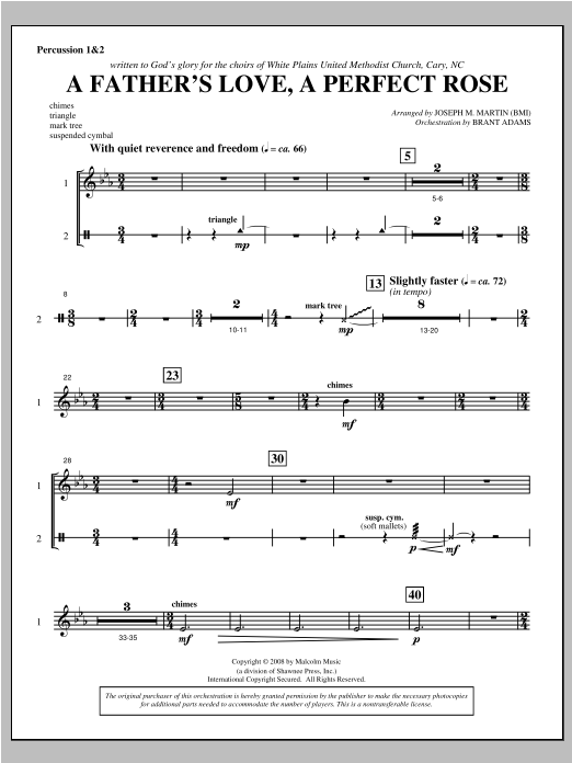 A Father's Love, A Perfect Rose (from Festival Of Carols) - Percussion 1 & 2 Sheet Music