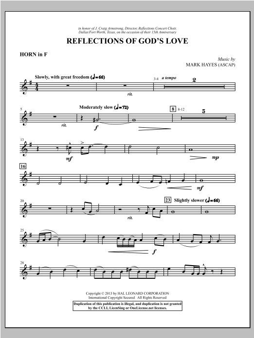 Reflections of God's Love - F Horn Sheet Music