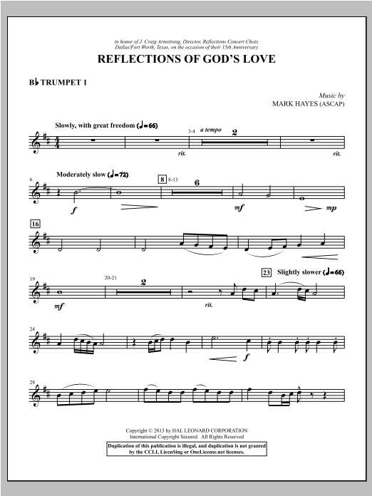 Reflections of God's Love - Bb Trumpet 1 Sheet Music