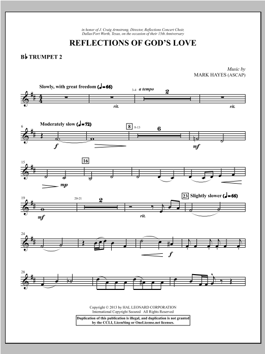 Reflections of God's Love - Bb Trumpet 2 Sheet Music