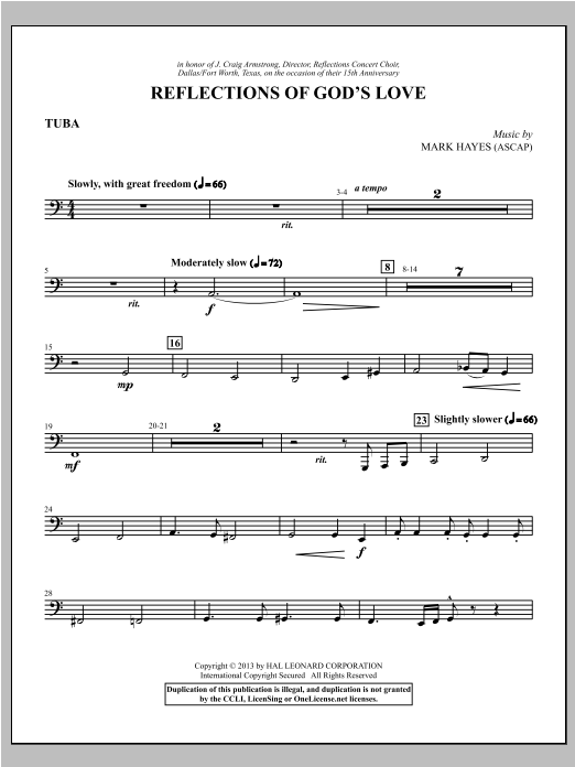 Reflections of God's Love - Tuba Sheet Music