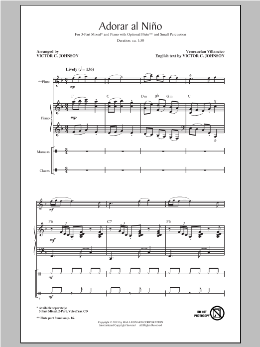 Adorar Al Nino (Come Adore The Baby) (arr. Victor Johnson) Sheet Music