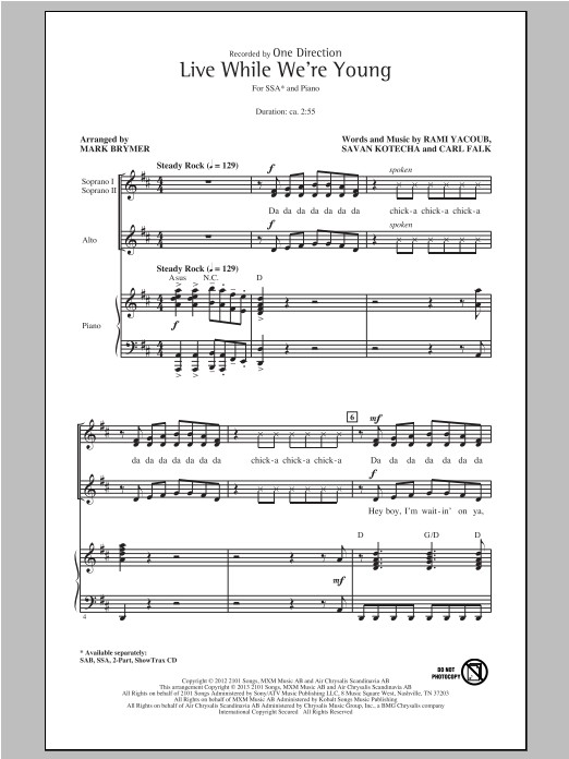 Live While We're Young (arr. Mark Brymer) Sheet Music