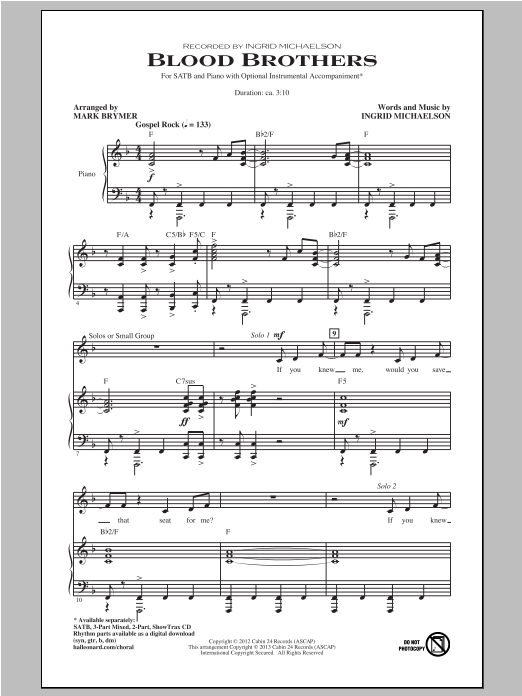 Partition chorale Blood Brothers de Ingrid Michaelson - SATB