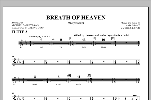 "Breath Of Heaven (from ""All Is Well"") - Flute 2 Sheet Music"
