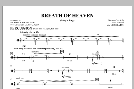 "Breath Of Heaven (from ""All Is Well"") - Percussion Sheet Music"