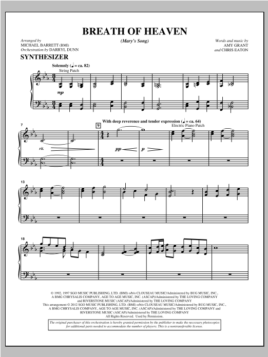 "Breath Of Heaven (from ""All Is Well"") - Keyboard/ Synthesizer Sheet Music"
