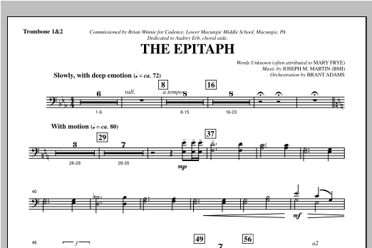 The Epitaph - Trombone 1 & 2 Sheet Music