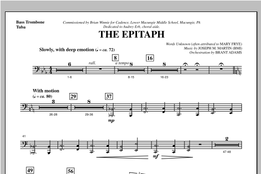 The Epitaph - Bass Trombone/Tuba Sheet Music