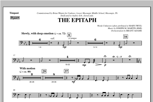 The Epitaph - Timpani (Choir Instrumental Pak)