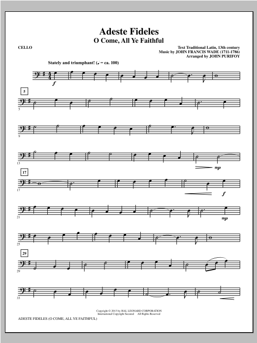 Adeste Fideles - Cello Sheet Music
