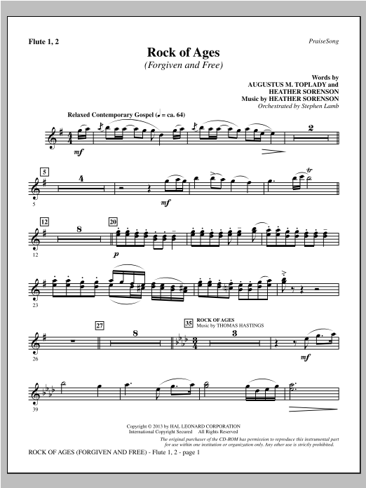 Rock of Ages (Forgiven and Free) - Flute 1 & 2 Sheet Music