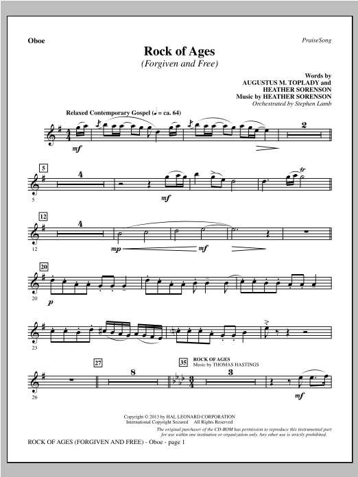 Rock of Ages (Forgiven and Free) - Oboe Sheet Music
