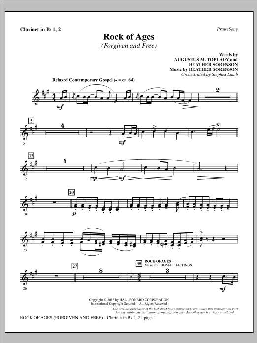 Rock of Ages (Forgiven and Free) - Bb Clarinet 1 & 2 Sheet Music