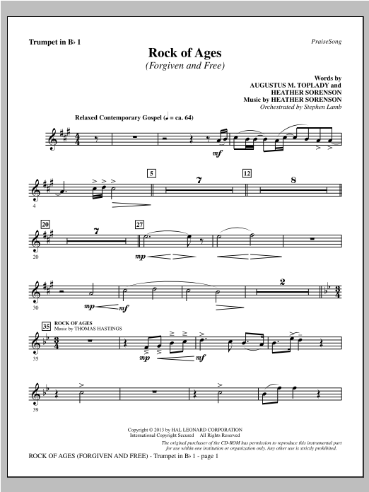 Rock of Ages (Forgiven and Free) - Bb Trumpet 1 Sheet Music