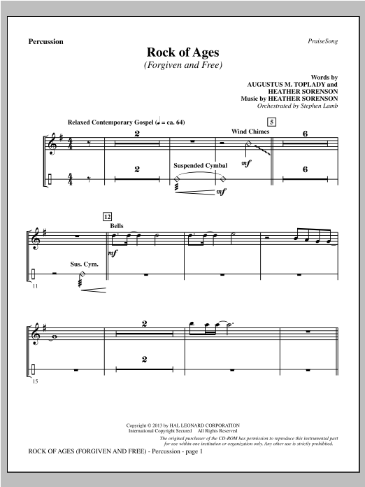 Rock of Ages (Forgiven and Free) - Percussion Sheet Music