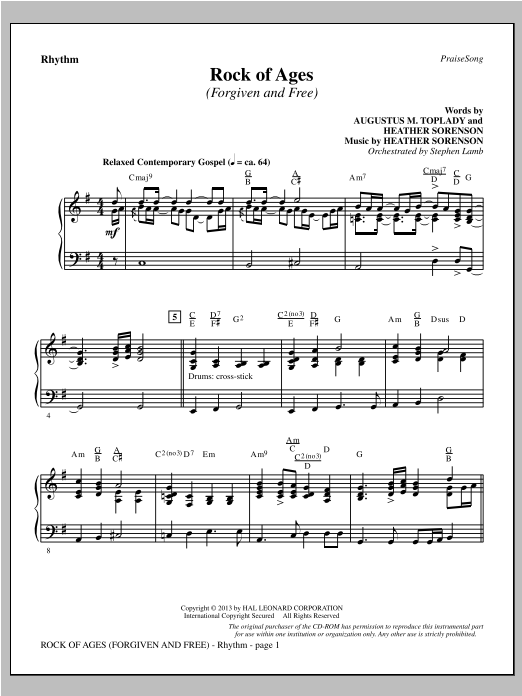 Rock of Ages (Forgiven and Free) - Rhythm Sheet Music