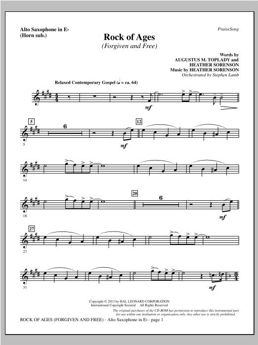 Rock of Ages (Forgiven and Free) - Alto Sax (sub. Horn) Sheet Music