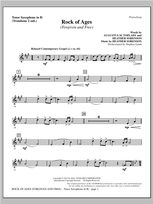 Rock of Ages (Forgiven and Free) - Tenor Sax (sub. Tbn 2) Sheet Music