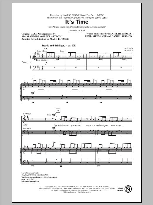 Partition chorale It's Time de Glee Cast (TV Series) - SAB