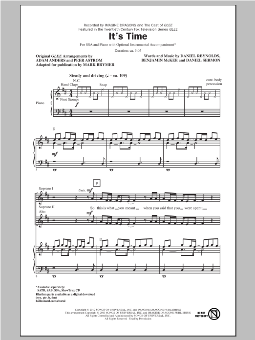 It's Time (arr. Mark Brymer) Sheet Music
