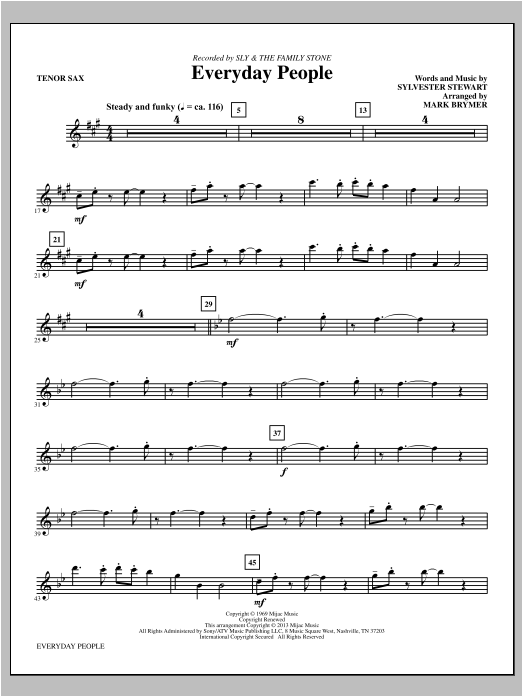 Everyday People - Tenor Sax Sheet Music