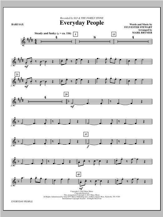 Everyday People - Baritone Saxophone Sheet Music