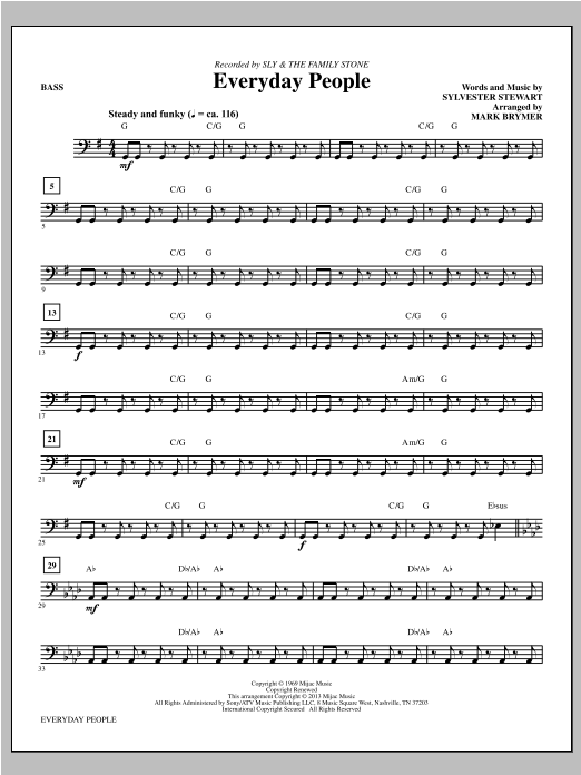 Everyday People - Bass Sheet Music