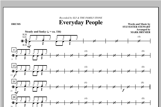 Everyday People - Drums Sheet Music