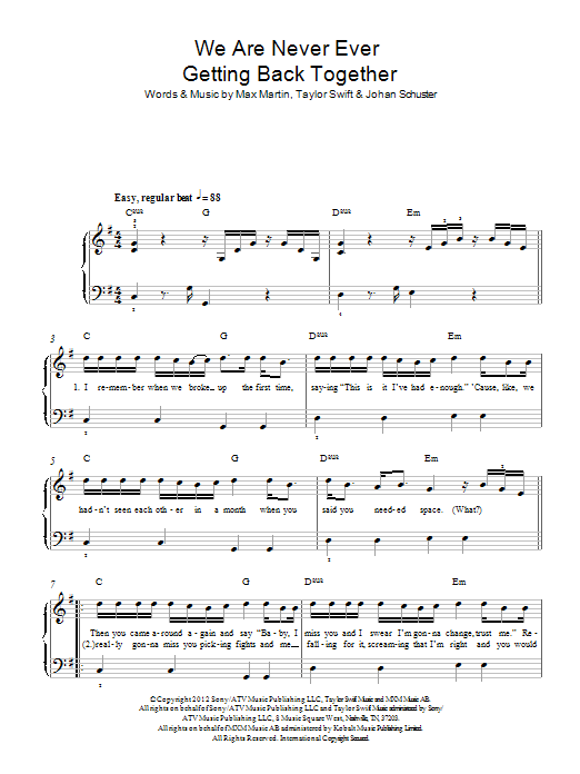 We Are Never Ever Getting Back Together sheet music by Taylor Swift ...