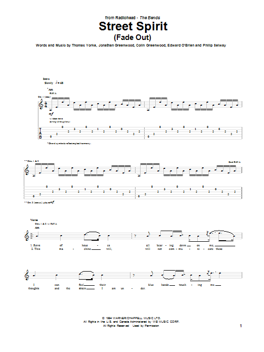 Street Spirit (Fade Out) Sheet Music