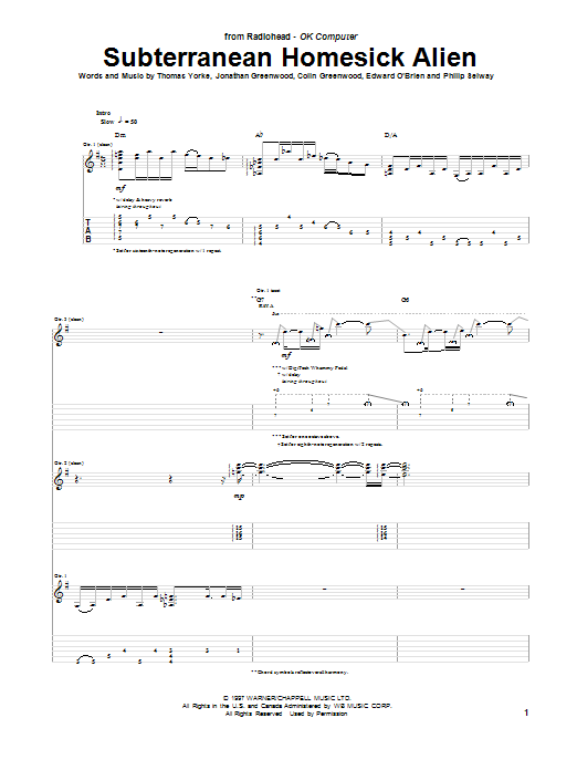 Subterranean Homesick Alien Sheet Music