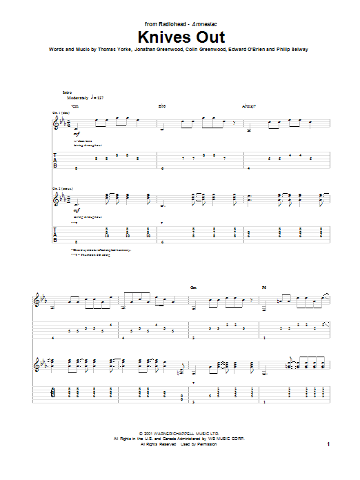 Knives Out Sheet Music