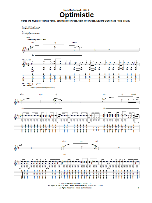Optimistic (Guitar Tab)