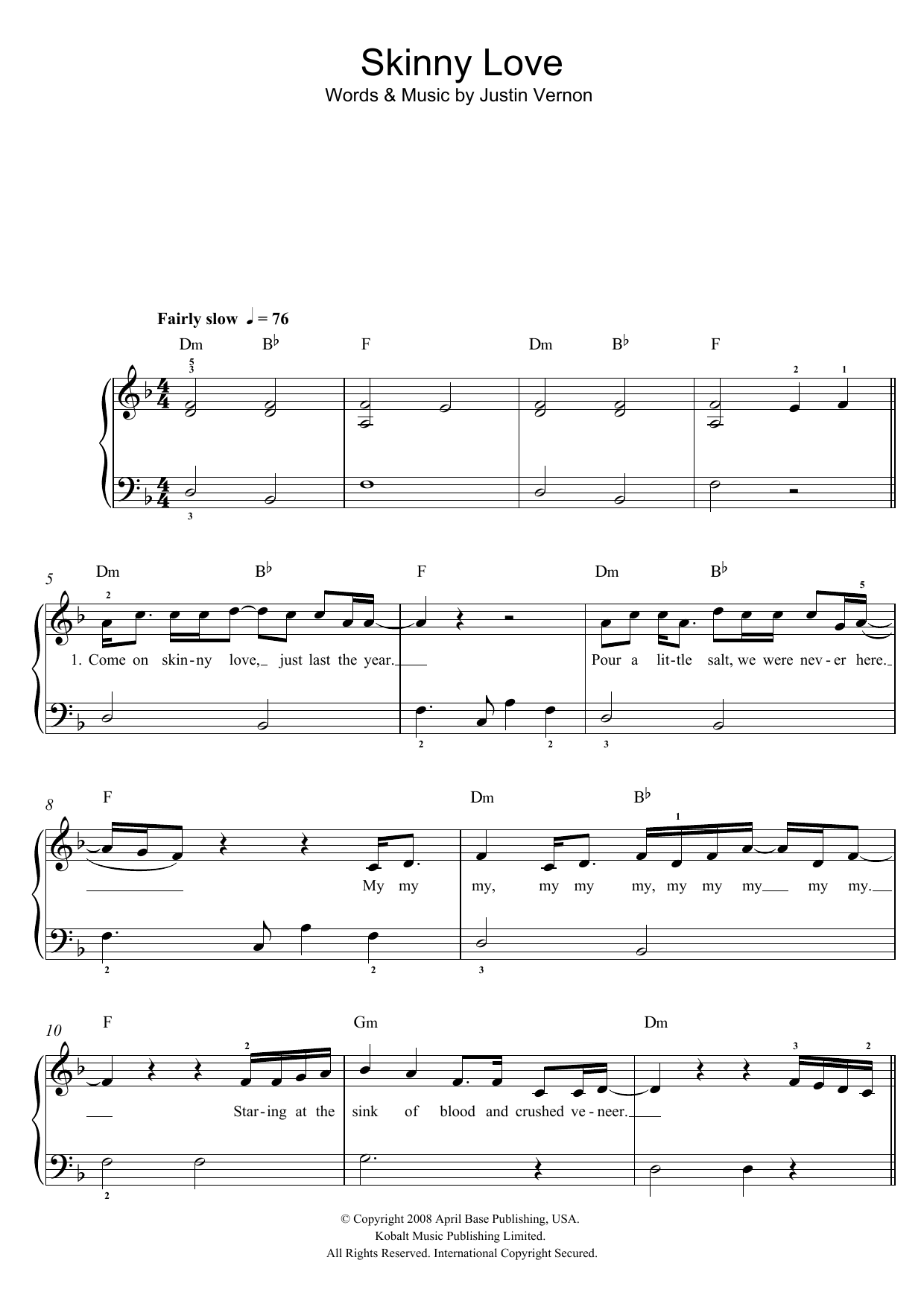Piano skinny love piano tabs : Skinny Love | Sheet Music Direct