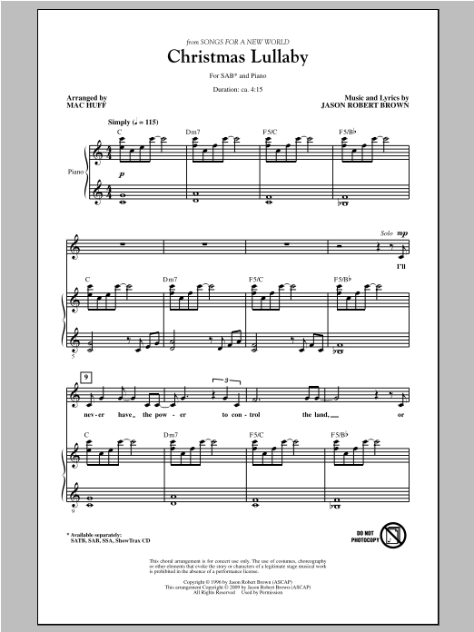 Christmas Lullaby (from Songs For A New World) (arr. Mac Huff) Sheet Music