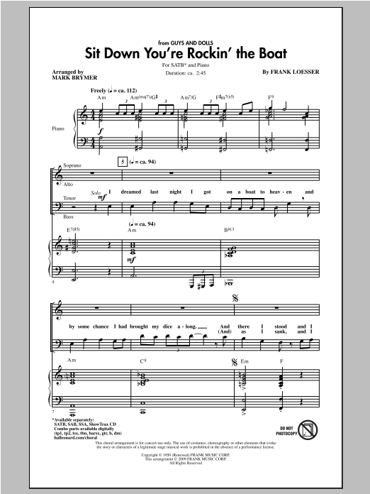 Sit Down You're Rockin' The Boat (SATB Choir)