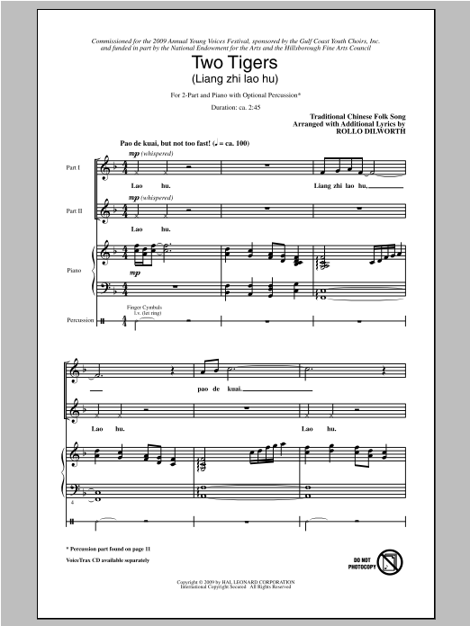Two Tigers (Liang Ge Lao Hu) Sheet Music