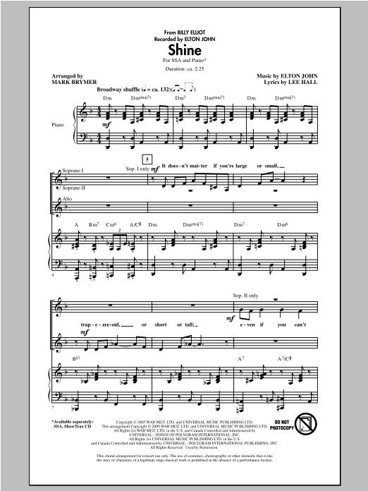 Partition chorale Shine de Elton John - SSA