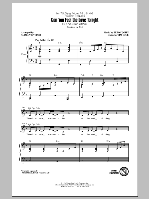 Can You Feel The Love Tonight (arr. Audrey Snyder) Sheet Music