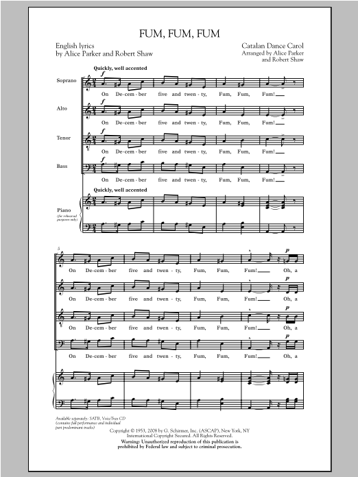 Fum, Fum, Fum (SATB Choir)