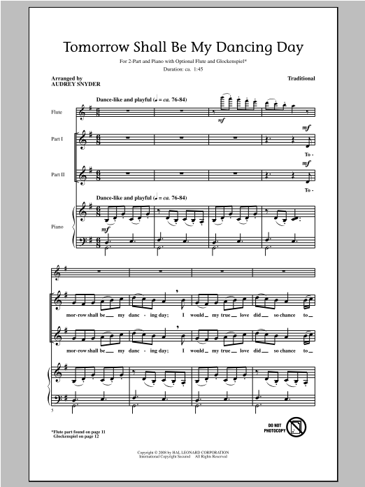 Tomorrow Shall Be My Dancing Day (arr. Audrey Snyder) Sheet Music