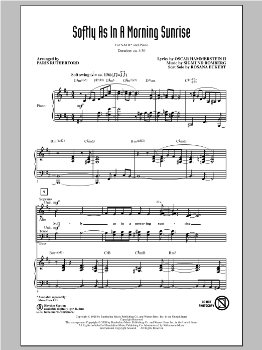 Softly As In A Morning Sunrise (arr. Paris Rutherford) Sheet Music