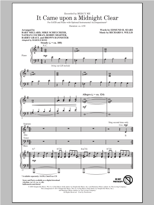 It Came Upon A Midnight Clear (arr. Harold Ross) (SATB Choir)